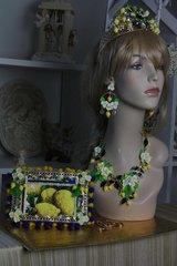 SOLD!136 Spring 2016 Lemon Fruit Flower Set Necklace Plus Earrings