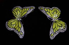 SOLD! Yellow Butterfly Enamel Stunning Studs