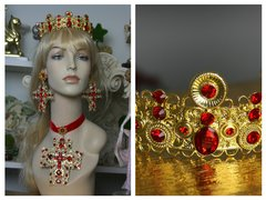 1467 Total BAroque Filigree Metal Red Crystal Tiara Crown