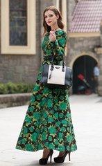 2069 Plus Sizes Green Jacquard Mid Cuff Stunning Dress