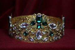 1714 Full Circle Baroque Designer Inspired Crystal Crown