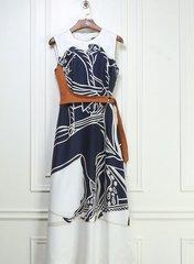 1740 Designer Horse Print White Blue Mid Cuff Dress