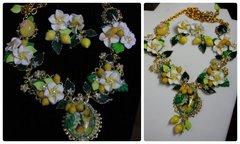 711  SET Spring 2016 Lemon Fruit Flower Set Necklace Plus Earrings