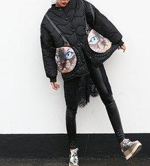 1451 New-Yorker Oversized Unusual Parka Outwear Cat Print Pockets