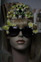 SOLD! 554 Enamel Yellow Butterfly Crystal Unusual Fancy Sunglasses Eye Wear UV400