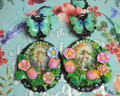 2523 Hand Painted Flower Cherub's Garden Black Earrings