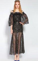 1761 Sheer French Black Lace Wide Sleeve Fancy Dress