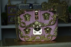 SOLD! 453 Total Baroque Runway  Designer Inspired Pale Pink MEDUSA Embellished Gold Purse Handbag