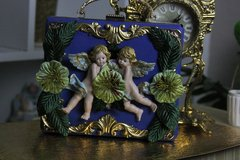 SOLD! 439  Total Baroque Vivid Cherubs Flower Unusual Hand Painted Unique Blue Cigar Box Handbag Trunk