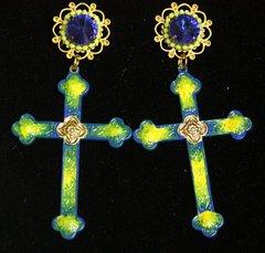 2220Hand Painted Designer Inspired Cross Massive Crystal Studs Earrings