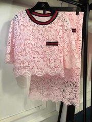2041 Pink Designer Inspired Crochet Elegant Twinset