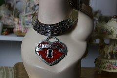 827  Huge Unusual Heart Taken Gold Silver Tone Enamel Fashion Statement Necklace