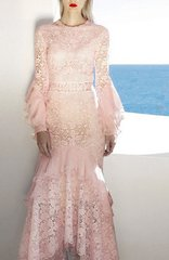 2028 Designer Inspired 2 Colors LAdy-like Lace Mid Cuff Dress