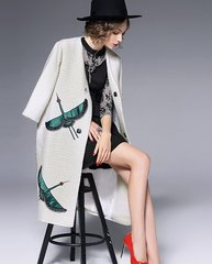 1621 Designer Inspired Stork Applique  Acetate Wool Coat