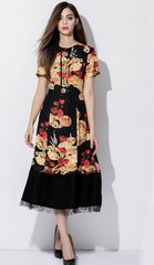 1391 Plus Sizes Poppy Bred Print Black Mid Cuff Elegant Dress