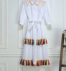 1739 Designer Inspired Colorful Tassel White Dress-Shirt