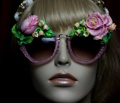 1967 Vivid Hand Painted Pink Rose Embellished Sunglasses