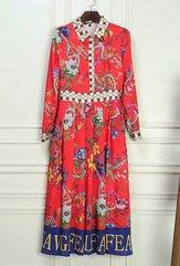 1805 Designer Inspired Floral Print Mid Cuff Dress