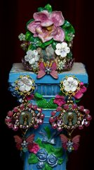1989 Set Of Hand Painted Orchid Virgin Mary Crystal Cuff+ Earrings