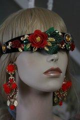 SOLD!430 Baroque Designer Inspired Red Rose Leaf Head Piece Headband
