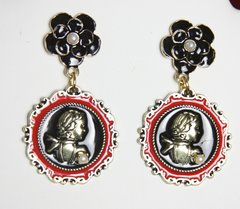 2426 Medallion Coco Portrait Enamel Camellia Studs Earrings