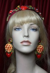 2308 Baroque Designer Inspired Pizza Tomato Chilly Fancy Studs Earrings