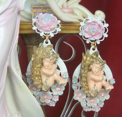 SOLD! 2629 Baroque Rococo Cherub Hand Painted Flower Studs Earrings