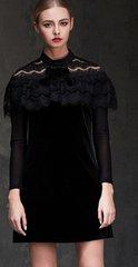 1781 Trendy Velvet Lace Black Lady-like Mini Dress