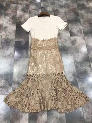 2537 Designer Inspired Crochet Skirt T-shirt-dress Twinset Size US4