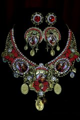1987 Set Of Virgin Mary Vintage Style 3 Cameo Necklace+ Earrings