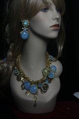 SOLD! Runway Designer Inspired Blue Porcelain Coin Elegant Statement Necklace