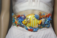 SOLD! 2385 Nautical Huge Tropical Yellow Fish Coral Embellished Waist Belt