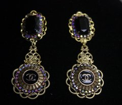 SOLD! 1586 Repurposed Chanel Button Black Crystal  Earrings Studs