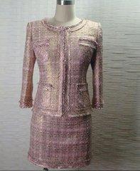 1705 Madam Coco Golden Pink Tweed Blazer Jacket+ Skirt Twinset