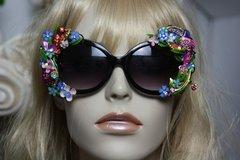 SOLD! 299 Art Nouveau Enamel Crystal Birds Unusual Fancy Sunglasses Eye Wear