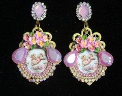 2221 Victorian Hand Painted Flower Venus Cameo Studs Earrings