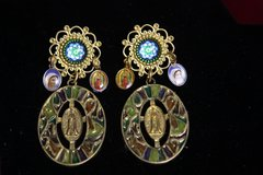 2364 Vintage Style Madonna Virgin Mary Studs Earrinhgs