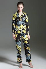 2543 Designer Pajama Inspired Floral Print Black Yellow Twinset