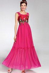 2065 Designer Floral Embroidery Fuchsia Ruffle Maxi Dress US2-US6