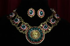 1798 BAroque Sun Crystal Necklace Plus Earrings Set