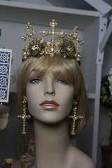 Baroque SET Earrings+Designer Inspired Pearl Cross Head Piece Crown