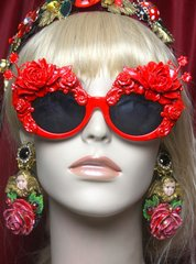 2647 Baroque Rococo Red Enamel Embellished Flower Sunglasses