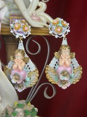2630 Rococo Hand Painted Flower Heart Stunning Studs Earrings