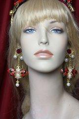 2427 Baroque Rococo Enamel Bee Pearl Crystal Studs