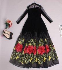 Heavy Emroidery Velvet Maxi Evening Dress