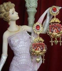 2513 Virgin Mary Heart Red Crystal Studs Earrings