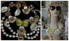 966  SET Victorian Pearl Flower Enamel Yellow Butterfly Zibellini Statement Necklace