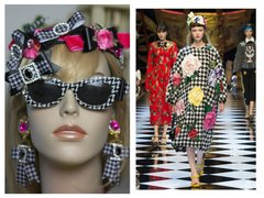 1570 Designer Inspired Houndstooth Fuchsia Crystal Bow Headband