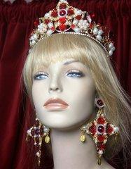 2315 Alta Moda Huge Light Weight Pearl Coin Cross Red Earrings