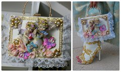 SOLD! 774  Total Baroque 3D Effect Cherub Unusual Unique Hand Painted Sigar Box Blue Handbag Trunk